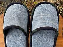Obuv - Bledomodré riflové papuče - 12724033_