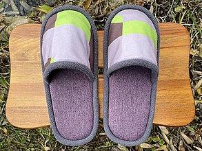 Obuv - Fialové papuče so vzorovaným vrchom - 12724317_