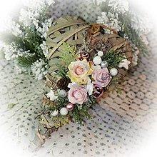 Dekorácie - Vánoční srdíčko - šedo růžové - 12723710_