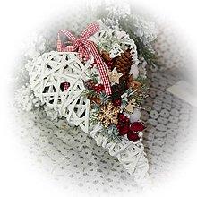 Dekorácie - Vánoční srdíčko - bílé tradiční - 12723722_