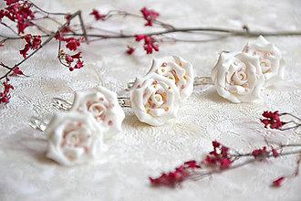 Náušnice - Nežné ruže, visiace náušnice, fimo - 12724207_