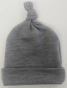 Detské čiapky - Dvojvrstvová merino čiapočka - šedý melír - 12726079_
