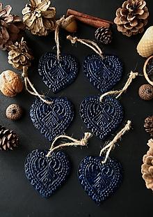 Dekorácie - Vianočné srdiečka modré - 12729647_
