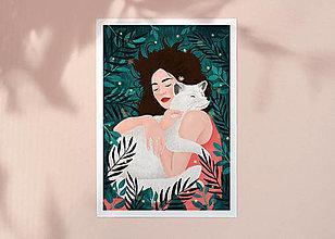 Grafika - Polární liška - umělecký tisk - 12733023_