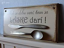 Tabuľky - Kde sa dobre varí .... vintage tabuľka  (č.1) - 12730749_