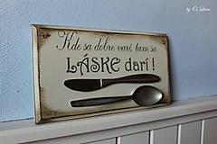 Tabuľky - Kde sa dobre varí .... vintage tabuľka  (č.1) - 12730751_