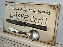 Tabuľky - Kde sa dobre varí .... vintage tabuľka  (č.3) - 12730782_