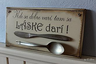 Tabuľky - Kde sa dobre varí .... vintage tabuľka - 12730753_