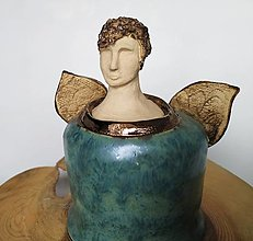 Dekorácie - Keramický anjelský zvonček - 12728799_