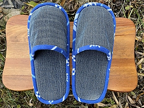 Obuv - Denim papuče s modrým lemom - 12728733_