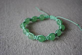 Náramky - Makramé náramok s avanturínom - zelený - 12729164_