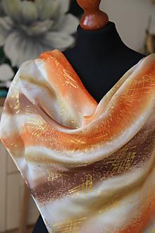 Šatky - Hodvábna  hnedo-oranžová + GRÁTIS darčekové balenie... - 12731402_