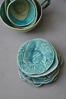 Nádoby - tanierik, podšálka kruh príroda tyrkysová - 12731234_