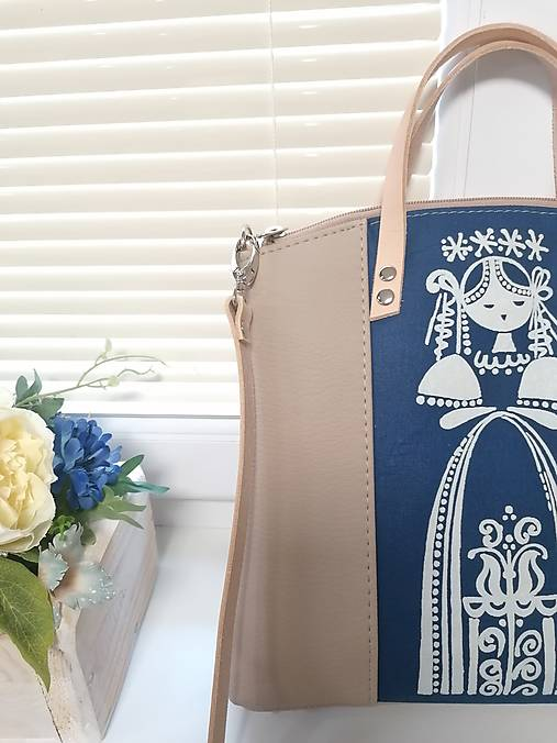 modrotlačová kabelka Nora béžová 11