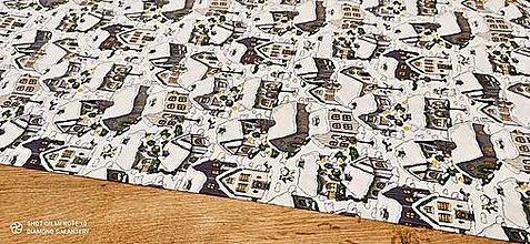 Textil - Bavlnená látka - Dedinka V- cena za 10 cm - 12736401_