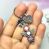Kľúčenky - Kľúčenka anjelik  (Ružová shamballa) - 12737193_