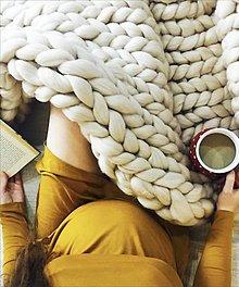 Úžitkový textil - Merino deka 100x130 | SKLADOM (farba Biela káva) - 12736557_