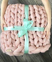 Úžitkový textil - Merino deka 100x130 | SKLADOM (farba Ružový púder) - 12736558_