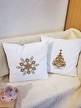 Úžitkový textil - Vianočná obliečka - zlatá vločka - 12736299_