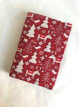 Papiernictvo - Obal na knihu otvárací vianočný - bordové soby - 12735646_