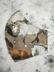 Rúška - Detské rúško Kone s antibakteriálnou bavlnou - 12738518_