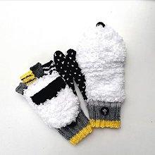 Rukavice - Rukavice biele našuchorené - 12739672_