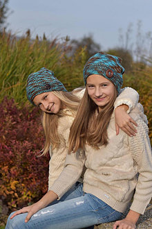 Detské čiapky - Hnedo-tyrkysové pletené čiapky - 12741343_