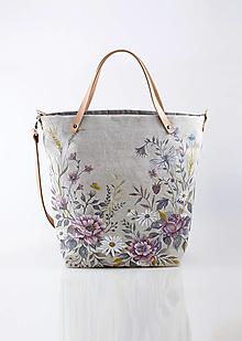 """Kabelky - Veľká ručne maľovaná kabelka z ľanu s koženým remienkom """"Fairy"""" - 12738136_"""