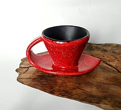 Nádoby - šáločka na kávu 2 v 1 - červeno čierna - 12740593_