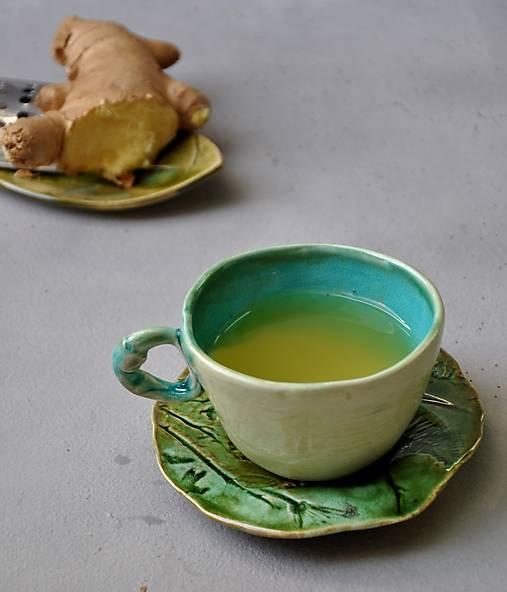 šálka, hrnček tyrkysovo zelená stredná SA 2