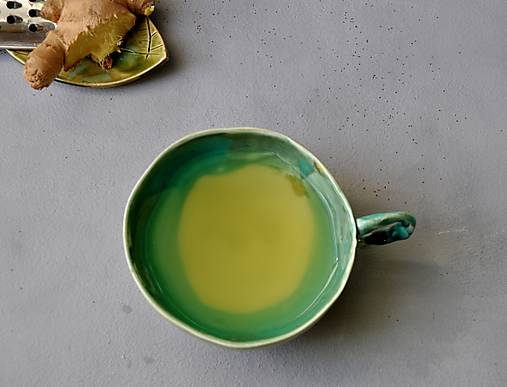 šálka, hrnček tyrkysovo zelená stredná SA 5