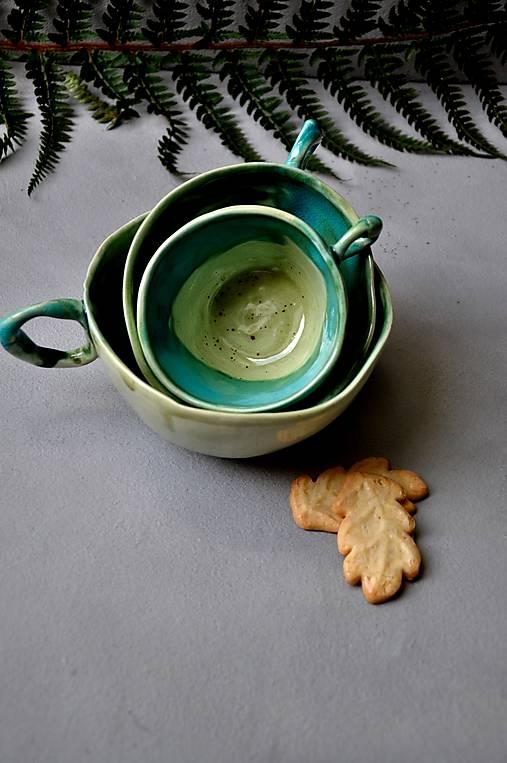 šálka, hrnček tyrkysovo zelená stredná SA 4