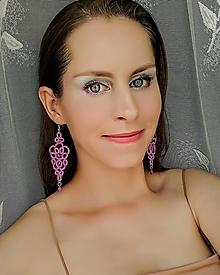 Náušnice - Náušnice s čipkou fialové - 12741825_