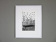 Grafika - LEVOČA ručne robená grafika (čierna)) - 12739773_