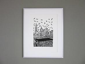 Grafika - LEVOČA ručne robená grafika (čierna) - 12739773_