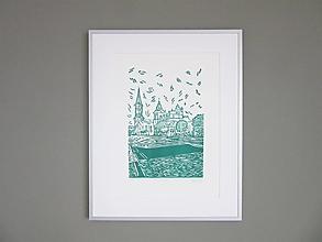 Grafika - LEVOČA ručne robená grafika (zelená) - 12739813_