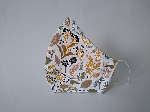 BIO bavlna dizajnové rúško rastliny hnedé tvarované dvojvrstvové