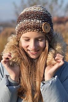 Čiapky - Hnedá pletená čiapka - 12745546_