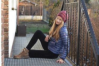 Čiapky - Bordová pletená čiapka - 12745954_
