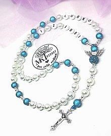 Iné šperky - Bielo-žiarivý ruženec  (Tyrkysová) - 12744028_