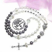 Náhrdelníky - Ruženec perličkový s textom - 12744908_