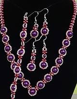 Sady šperkov - Fialový perlový set - 12743024_