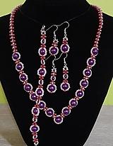 Sady šperkov - Fialový perlový set - 12743025_