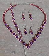Sady šperkov - Fialový perlový set - 12743026_