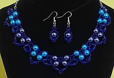 Sady šperkov - Modrý perlový set - 12745115_