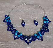 Sady šperkov - Modrý perlový set - 12745116_