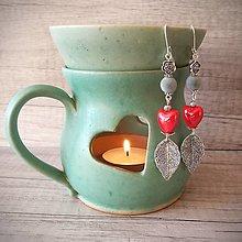 Náušnice - Srdcové náušnice, ruže, plsť, sivá.. - 12744910_