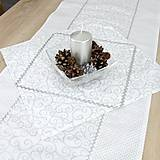 Úžitkový textil - JONÁŚ - strieborné ornamenty a bodky - obrúsok štvorec 40x40 - 12743401_