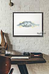 Grafika - Art Print, WATERCOLOR WINTER, Panorama, obrázok na stenu - 12744428_