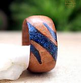 Prstene - Unisex prsteň z dreva s kameňom Lapis Lazuli - 12742250_